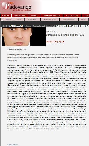 Report From Padua Recital